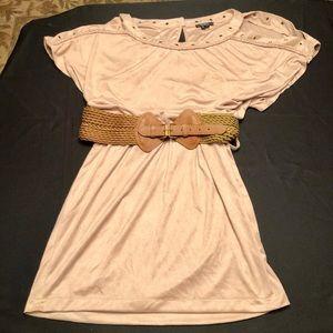 NWOT- XOXO Faux Suede Cold Shoulder Mini Dress